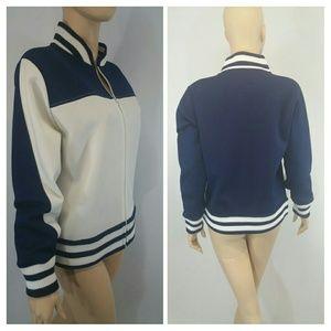NWOT VINTAGE Knit 1960-70s NAVY TENNIS JACKET